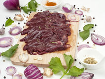 Raw pork liver slice with flavoring spices japanese and asian food Royalty Free Stock Photography