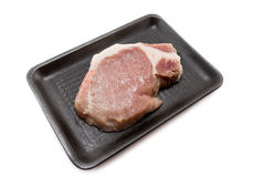 Raw pork loin  in  packaging tray. Raw pork loin  in packaging tray, Supermarket Stock Images