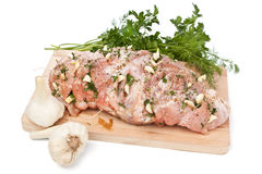 Raw pork loin prepared for roasting Stock Photo