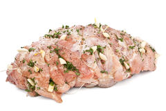 Raw Pork Loin Prepared for Roasting Royalty Free Stock Photos