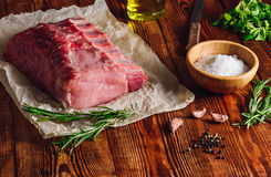 Raw Pork Loin with Ribs and Some Ingredients. For Roasting royalty free stock photography