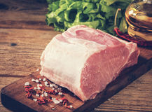 Raw pork loin with salt and herbs. Toned image Stock Image