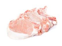 Raw pork loin. Slices isolated on white Royalty Free Stock Photos