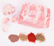 Raw pork loin. And spices & garlic on a white background Stock Photography