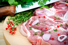 Free Raw Pork Meat And Seasoning Royalty Free Stock Images - 14355779