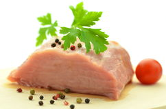 Raw pork meat on cutting board Royalty Free Stock Image