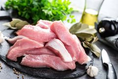 Raw pork meat, filet. On board Stock Images