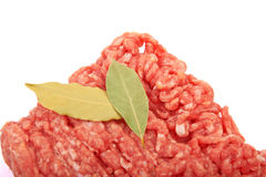 Raw pork meat. Ground beef with bay leaf Stock Photography