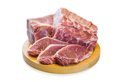 Raw Pork Meat Isolated. On white background, clipping path Royalty Free Stock Images