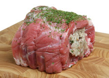 Raw Pork Meat Joint Stuffed with Sage & Oinion Stuffing Stock Photos