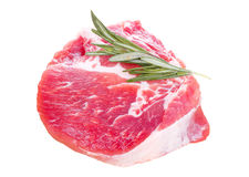 Raw pork meat and rosemary isolated Stock Photos