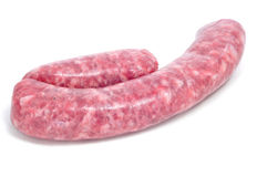 Raw pork meat sausage Stock Photos