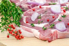 Raw pork meat and seasoning stock photography