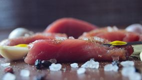 Raw pork meat with spices closeup stock photo