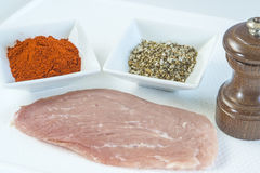 Raw pork meat with spices. Pepper, herbal salt and pepper mill Royalty Free Stock Images