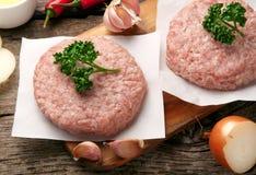 Raw pork meat steak cutlets Royalty Free Stock Image