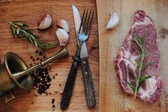 Raw pork meat for steak Royalty Free Stock Image