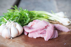 Raw pork meat. With vegetables Stock Photography