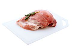 Raw pork meat on wooden desk Stock Photography