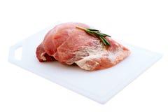 Raw pork meat on wooden desk Stock Photo