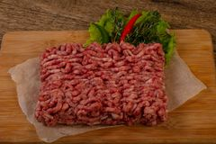 Raw pork minced meat. Ready for cooking royalty free stock images