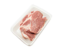 Raw pork  in packaging tray Royalty Free Stock Image
