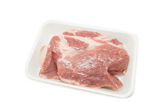 Raw pork  in packaging tray Stock Photo