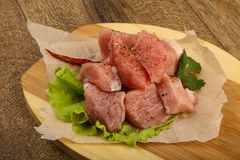 Raw pork pieces. With pepper and salt - ready for cooking Stock Photography