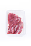 Raw pork in plastic box package Stock Photo