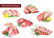 Raw pork products set. Watercolor. Illustration vector illustration