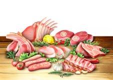 Raw pork products. Watercolor. Illustration stock illustration