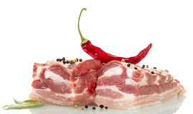 Raw pork, red chili pepper and spices isolated on white. Raw pork, red chili pepper and spices isolated on white background Royalty Free Stock Photography