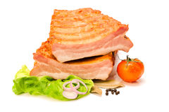 Raw pork ribs cut in half Royalty Free Stock Images