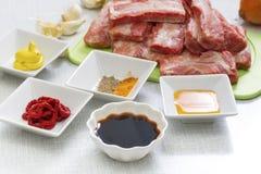 Raw pork ribs on a cutting board Royalty Free Stock Photo