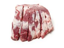 Raw pork ribs rack. Isolated on the white background Royalty Free Stock Photos