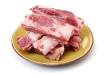 Raw pork ribs. Close-up  on white background Royalty Free Stock Photography