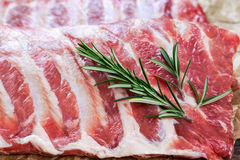 Raw Pork ribs with a rosemary. on crumpled paper Stock Images