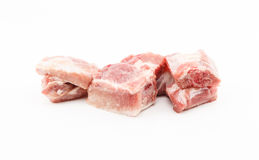 Raw pork ribs on white background Stock Photos