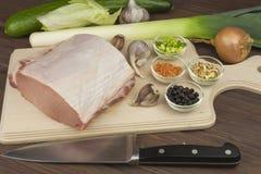 Raw pork roast. Stock Photos
