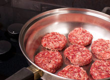 Raw Pork Sausage Patties. Pork Sausage patties, cooking in a frying pan Stock Image