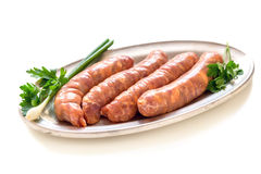 Raw pork sausages. Royalty Free Stock Photography
