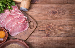 Free Raw Pork Schnitzel With The Ingredients . Royalty Free Stock Photos - 82780878