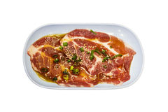 Raw Pork Shoulder Cut on blue plate, isolated Royalty Free Stock Images