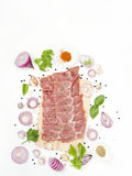 Raw pork shoulder with flavoring spices japanese and asian food. Isolated on white background Royalty Free Stock Photo