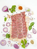 Raw pork shoulder with flavoring spices japanese and asian food. On white background Royalty Free Stock Photo