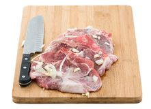 Raw Pork Sirloin Chops Marinated Stock Photos