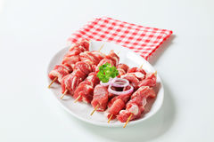 Raw pork skewers Stock Images