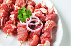 Raw pork skewers Royalty Free Stock Photography