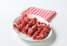 Raw pork skewers Stock Image