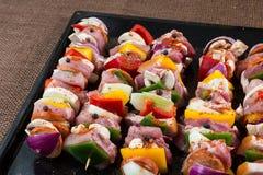 Raw pork skewers Royalty Free Stock Images